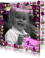 Verjaardagskaarten - Jarig FEEtje FOTOkaart taartjes