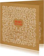 Verjaardagskaarten - Jarig- Kaart vol bloemen - MW