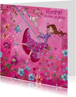 Verjaardagskaarten - Jarig Meisje Bloemen Swing Illustratie