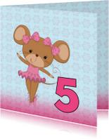Verjaardagskaarten - Jarig met ballet-muisje