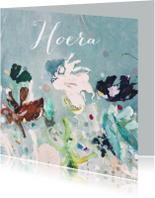 Verjaardagskaarten - Jarig schilderij print Hoera