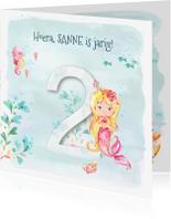 Verjaardagskaarten - Jarigkaart  2 jaar-zeemeermin, zeepaardje en krab