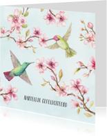 Verjaardagskaarten - Jarigkaart kersenbloesem met kolibri