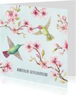 Jarigkaart kersenbloesem met kolibri