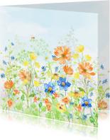 Verjaardagskaarten - Jarigkaart met vrolijk gekleurde bloemen
