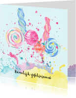 Verjaardagskaarten - Jarigkaart snoepgoed en spetters