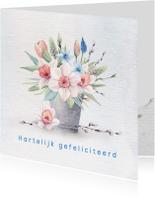 Verjaardagskaarten - Jarigkaart  voorjaarsboeket