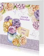Verjaardagskaarten - je bent jarig met gekleurde rozen