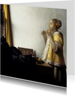 Kunstkaarten - Johannes Vermeer. Jonge vrouw met parelketting