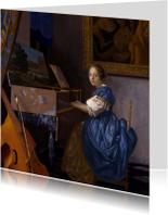 Kunstkaarten - Johannes Vermeer. Zittende Klavecimbelspeelster