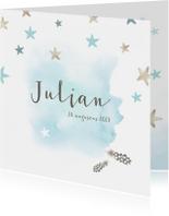 Jongens geboortekaartje met waterverf en sterren