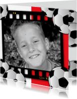 Verjaardagskaarten - jongenskaartvoetbalkader rood wit eigen foto