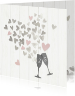 Jubileumkaarten - Jubileum 25 zilveren hartjes