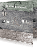 Jubileumkaarten - Jubileum 3 kleuren hout met hart