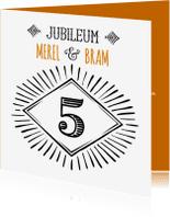 Jubileumkaarten - Jubileum 5 handlettering - OT