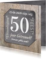 Jubileumkaarten - Jubileum 50 hout en foto RB