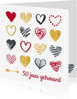 Jubileumkaarten - Jubileum 50 jaar hartjes