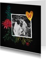 Jubileumkaarten - Jubileum 50 jaar stijlvol met handgeschilderde bloemen