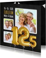 Jubileumkaarten - Uitnodiging jubileum ballonnen goud 12,5