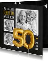 Jubileumkaarten - Uitnodiging jubileum ballonnen goud 50