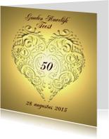 Jubileumkaarten - jubileum goud en hart