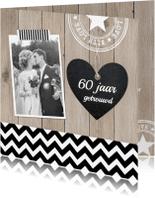 Jubileumkaarten - Jubileum houtprint foto hartje