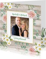 Jubileumkaarten - Jubileum huwelijk rozen op hout