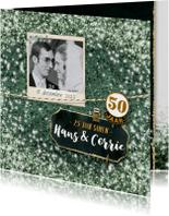 Jubileumkaarten - Jubileum huwelijk samen glitter blauw met foto