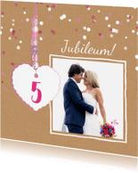 Jubileumkaarten - Jubileum kaart 5 jaar hart
