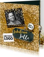 Jubileumkaarten - Jubileum medewerker glitter goud vierkant met logo