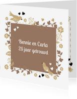Jubileumkaarten -  Jubileum tortelduifjes 25 jarig uitnodiging