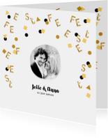 Jubileumkaarten - Jubileum uitnodiging confetti letters goud