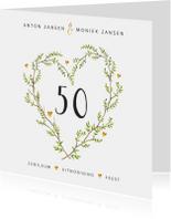Jubileumkaarten - Jubileum uitnodiging stijlvol met botanisch hart