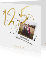Jubileumkaarten -  Jubileumkaart '12,5' met spetters en foto