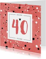 Jubileumkaarten - Jubileumkaart 40 jaar huwelijk rood stijlvol en hip
