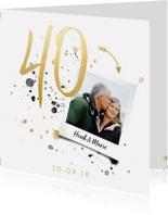 Jubileumkaarten - Jubileumkaart '40' met spetters en foto