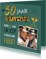 Jubileumkaarten - Jubileumkaart 50 jaar huwelijk hip met goud en foto