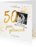 Jubileumkaart 50 jaar huwelijk stijlvol goudlook