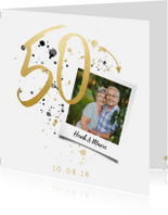 Jubileumkaarten - Jubileumkaart '50' met spetters en foto