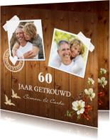 Jubileumkaarten - Jubileumkaart foto bloemen hout