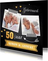 Jubileumkaarten - Jubileumkaart foto hartjes goud 50 jaar