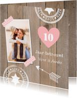 Jubileumkaarten - Jubileumkaart foto houtlook