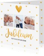 Jubileumkaarten - Jubileumkaart fotocollage vierkant gouden hartjes