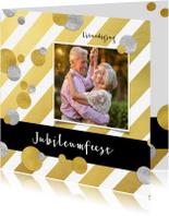Jubileumkaarten - Jubileumkaart goud strepen en confetti