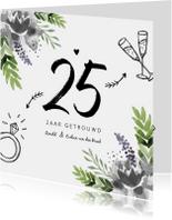 Jubileumkaarten - Jubileumkaart huwelijk bloemen stijlvol en hip