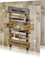 Jubileumkaarten - Jubileumkaart huwelijk pallet wegwijzer op hout