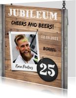 Jubileumkaart medewerker industrieel met foto en hout