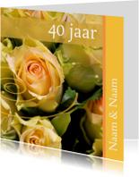 Jubileumkaarten - Jubileumkaart met gele rozen x jaar