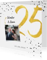 Jubileumkaarten - Jubileumkaart met gouden 25, spetters en foto