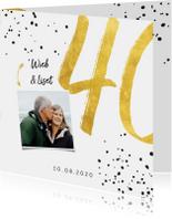 Jubileumkaarten - Jubileumkaart met gouden 40, spetters en foto